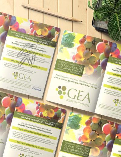 Flyer réalisé pour le groupement GEA par C'est d'Ici communication santé à Bordeaux