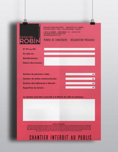 Panneau permis de construire Charlène Robin par C'est d'Ici communication santé à Bordeaux