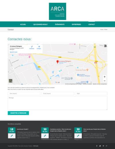 Site web Arca page contact par C'est d'Ici communication santé à Bordeaux