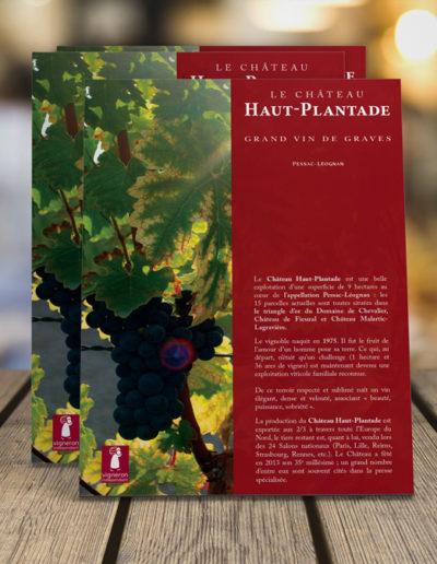 Plaquette pour le Château Haut Plantade par C'est d'Ici communication santé à Bordeaux