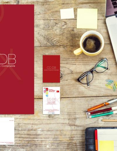 Papeterie du cabinet d'expertise comptable CC-DB déclinée par C'est d'Ici communication multisectoriel à Bordeaux