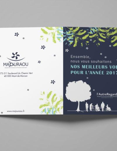 Carte de voeux réalisée pour l'association l'Autre Regard Majouraou par l'agence c'est d'ici communication santé à Bordeaux