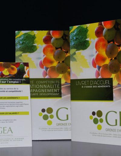 Déclinaison de toute la papeterie du groupement GEA réalisé par l'agence C'est d'ici à Bordeaux
