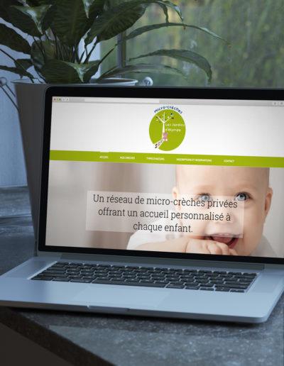 Site web d'Olympe crèches réalisé par l'agence C'est d'ici spécialisé en santé et bien-être