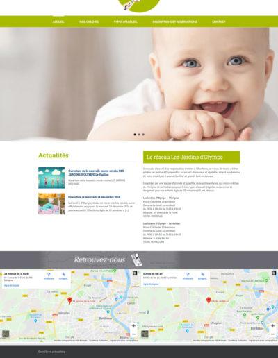 Site web Olympes Creches réalisé par l'agence C'est d'ici spécialisée en communication santé et bien-être