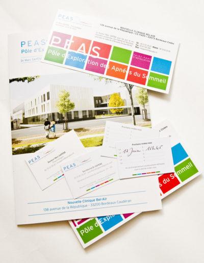 Déclinaison papeterie pour le PEAS par C'est d'Ici communication santé à Bordeaux