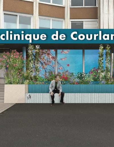 Proposition d'aménagement de l'entrée de la polyclinique de Courlancy par l'agence c'est d'ici communication santé à Bordeaux