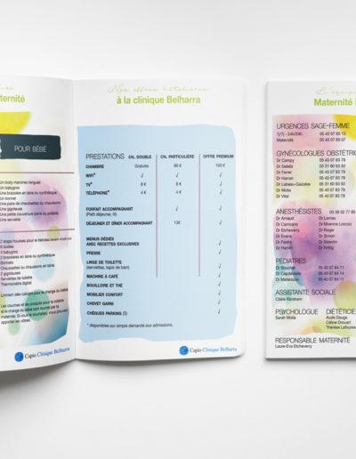 Livret pour la maternité Clinique Belharra Groupe Capio par l'agence c'est d'ici communication santé à Bordeaux