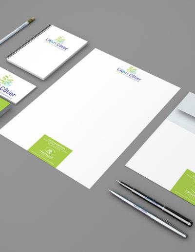 papeterie et logo de L'Abri Côtier par l'agence c'est d'ici communication santé à Bordeaux