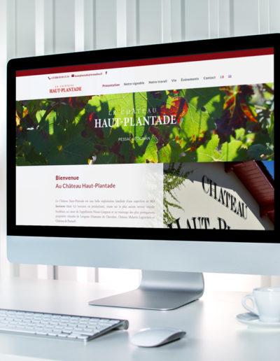 Page d'accueil du site web du château Haut Plantade réalisée par l'agence de communication C10i spécialisée en santé et bien-être à Bordeaux et Léognan