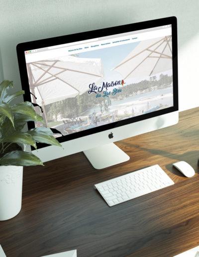 Mockup de la page d'accueil du site internet du restaurant la maison du lac bleu réalisé par l'agence de communication C'est d'ici C10i spécialisé en santé et bien-être