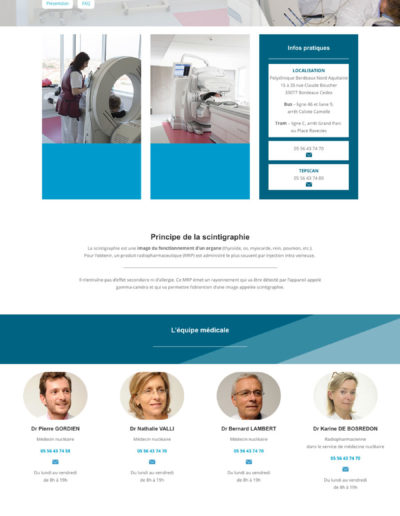 Mockup de la réalisation du site internet du pôle scintigraphie